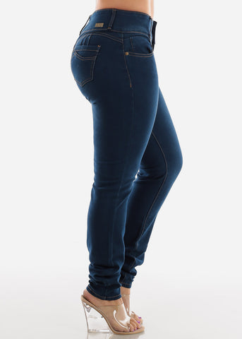 Image of Dark Wash Plus Size High Rise Skinny Jeans