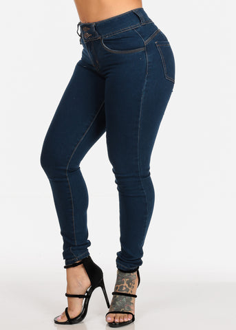 High Waisted Levanta Cola Two Button Zip Up Med Wash Butt Lifting Skinny Jeans