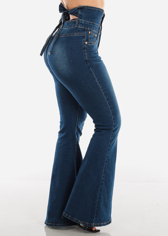 Back Bow High Rise Dark Wash Bell Bottom Jeans