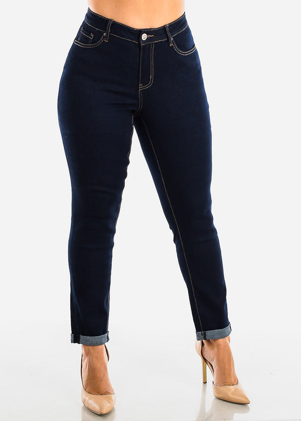 Plus Size Dark Wash Roll Cuff Jeans