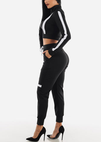 Black Zip Up Top & Joggers (2 PCE SET)
