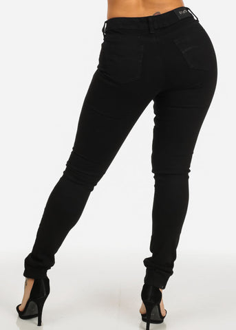 Black Mid Waist Distressed Skinny Jeans