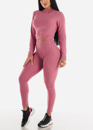 Anti Cellulite Mauve Hoodie & Leggings  (2 PCE SET)