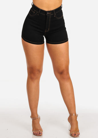 Women's Junior Casual Beach Vacation Going Out High Waisted Super Cute Stretchy Black Denim Shorts