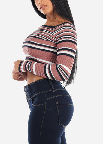 Rose Striped Off Shoulder Cropped Sweater
