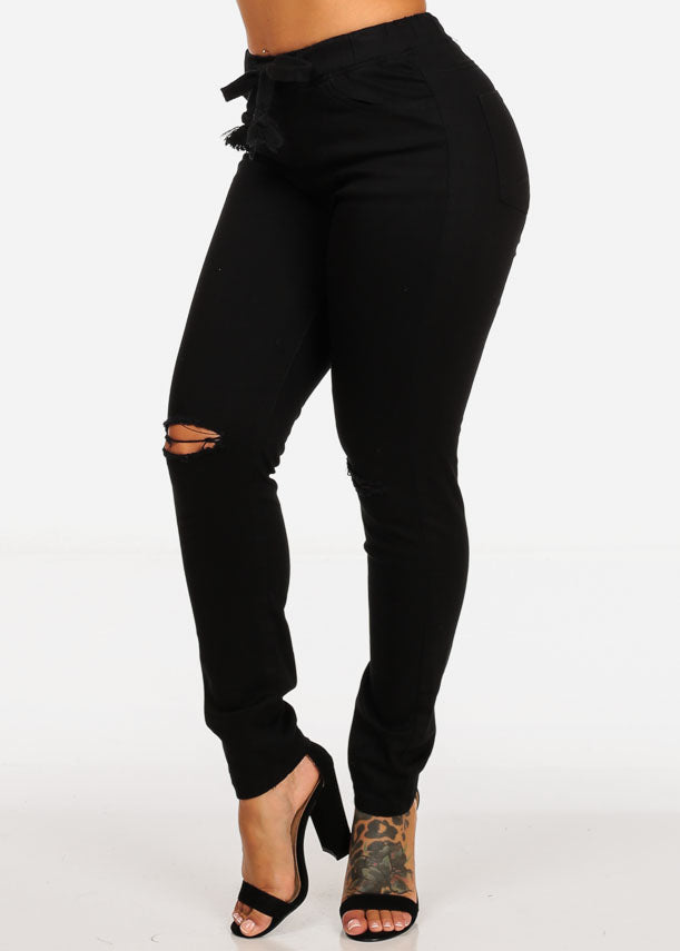 Black Mid Rise Distressed Skinny Jeans