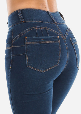 High Rise Butt Lifting Med Wash Bootcut Jeans