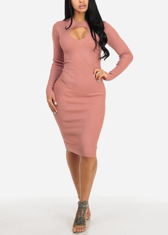 Image of Mauve Long Sleeve Sweater Midi Dress with Keyhole Mock Neck