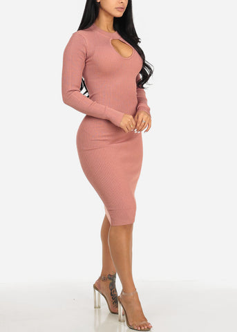 Mauve Long Sleeve Sweater Midi Dress with Keyhole Mock Neck