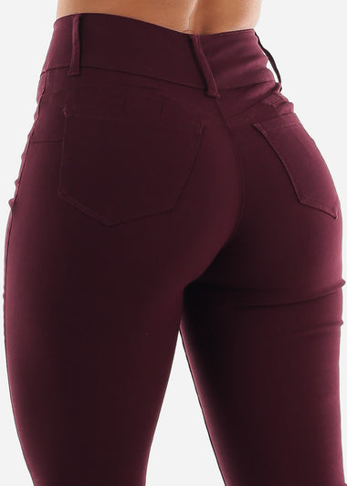 Burgundy Butt Lifting Jeans