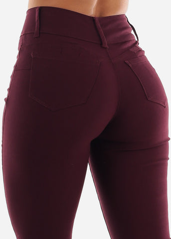 Image of Burgundy Butt Lifting Jeans