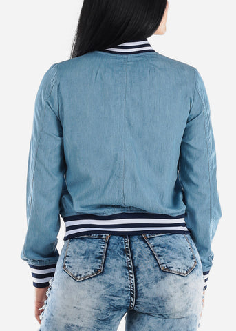 Image of Light Wash Blue Bomber Jacket