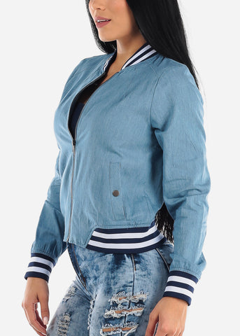 Light Wash Blue Bomber Jacket