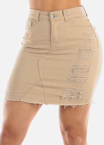 Image of Khaki Distressed Denim Mini Skirt