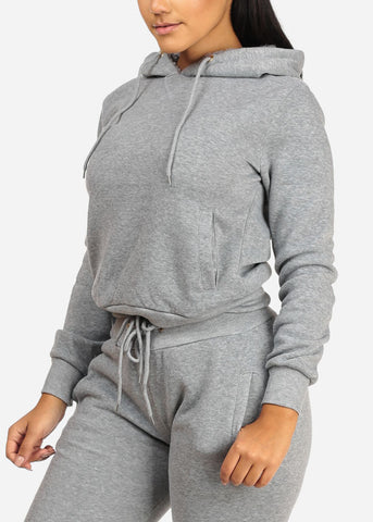 Image of Solid Grey Sweater W Hood