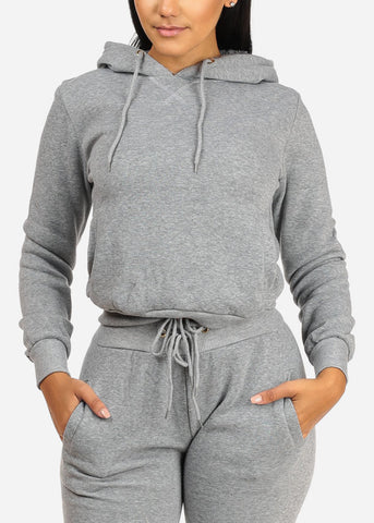 Solid Grey Sweater W Hood