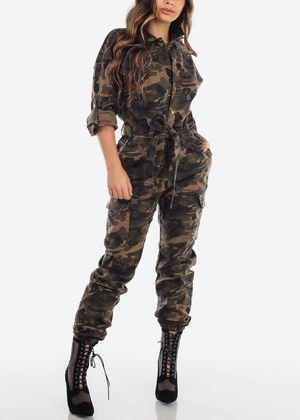 Camouflage Button Up Denim Coveralls