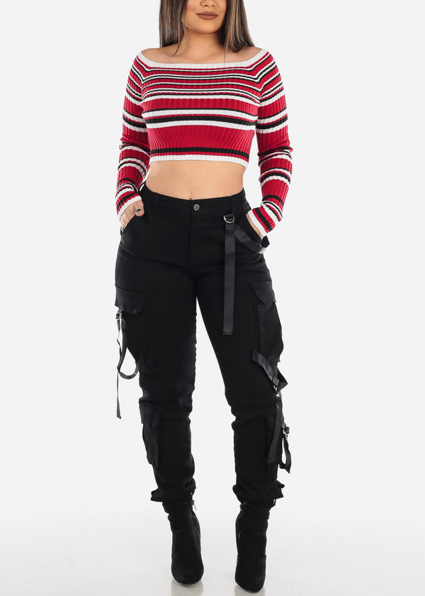Red Striped Off Shoulder Cropped Sweater