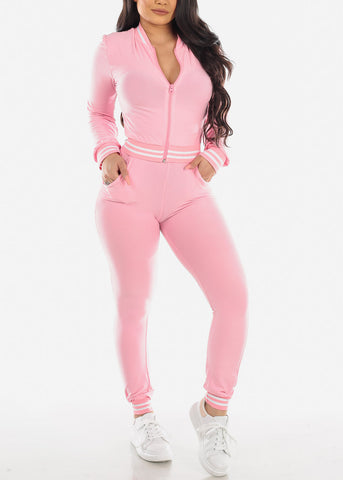 Pink Stripe Cropped Jacket & Pants (2 PCE SET)