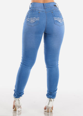 Image of High Waisted Butt Lifting Levanta Cola 2 Button Med Wash Skinny Jeans For Women Ladies Junior