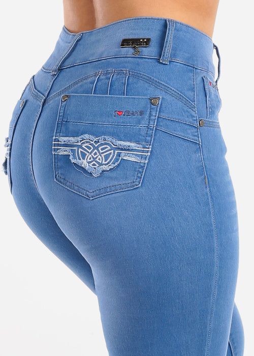 High Waisted Butt Lifting Levanta Cola 2 Button Med Wash Skinny Jeans For Women Ladies Junior