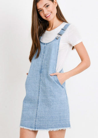 Image of Light Wash Denim Mini Overall Dress