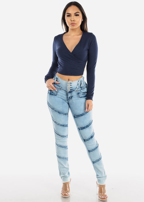 Butt Lifting Acid Wash Skinny Jeans