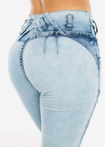 Image of Butt Lifting Acid Wash Skinny Jeans
