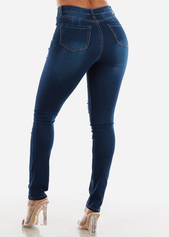 Butt Lifting Dark Wash Torn Jeans