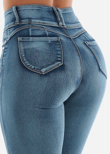 High Waisted Butt Lifting Med Wash Skinny Jeans