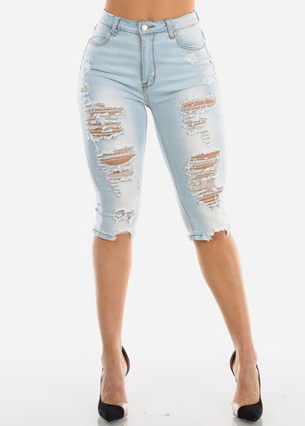 Distressed Light Wash Denim Capris