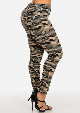 Mid Rise Camouflage Skinny Pants