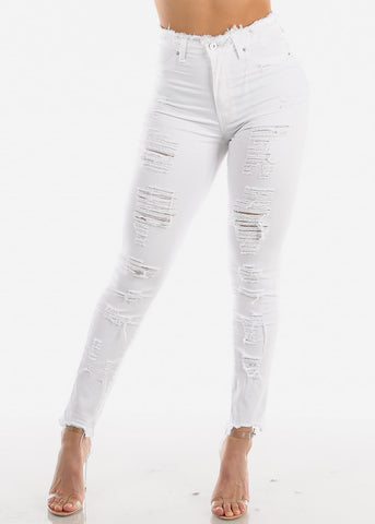 Image of Ultra High Rise Torn White Skinny Jeans