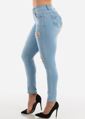 Levanta Cola Ripped Light Skinny Jeans