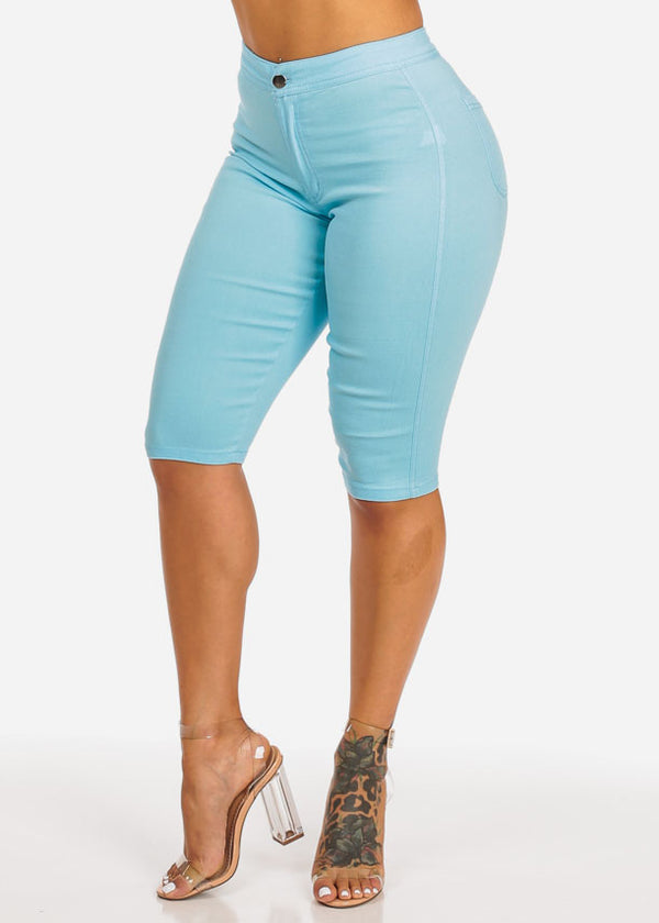Light Blue High Waisted Capri Jeggings Bermudas