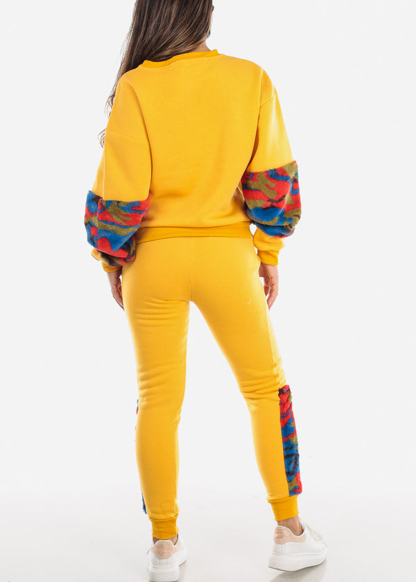 Fuzzy Yellow Sweatshirt & Pants (2 PCE SET)