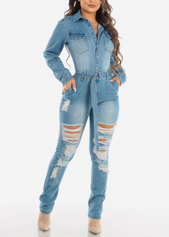 Image of Light Wash Distressed Denim Jumpsuit