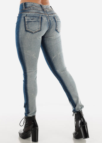 Image of Low Rise Blue Faded Butt Lifting Skinny Jeans