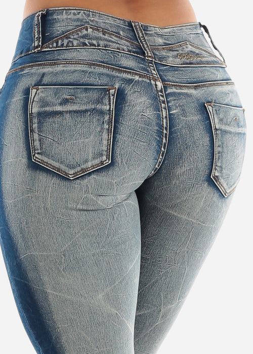 Low Rise Blue Faded Butt Lifting Skinny Jeans