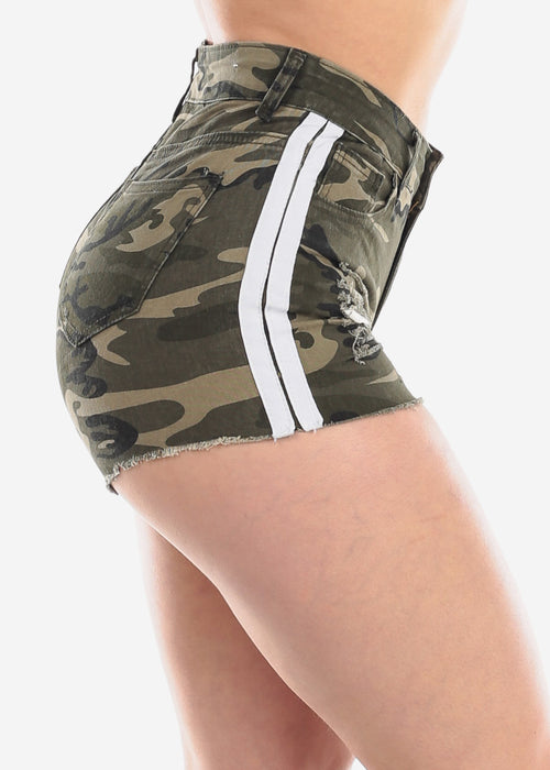 Ripped Camouflage Shorty Shorts