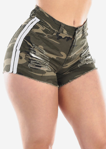 Mid Rise 1 Button Camouflage Print White Side Stripes Distressed Denim Short Shorts For Women Ladies Junior