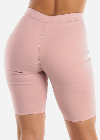 High Rise Slim Fit Pink Bermuda Shorts