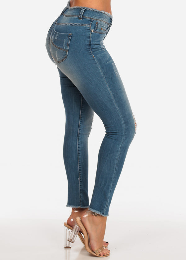 NINE PLANET Med Wash Distressed Skinny Jeans