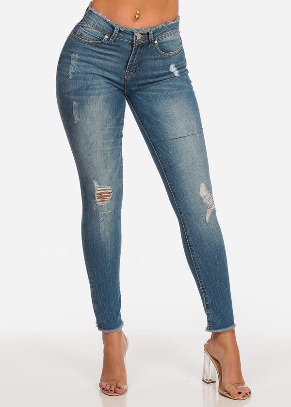 NINE PLANET Trendy Mid Rise Distressed Med Wash Raw Hem Skinny Jeans
