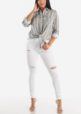 Image of White High Rise Ripped Butt Lift Jeans