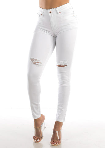 White High Rise Ripped Butt Lift Jeans