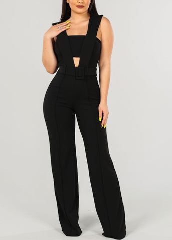 Sexy Solid Black Jumpsuit