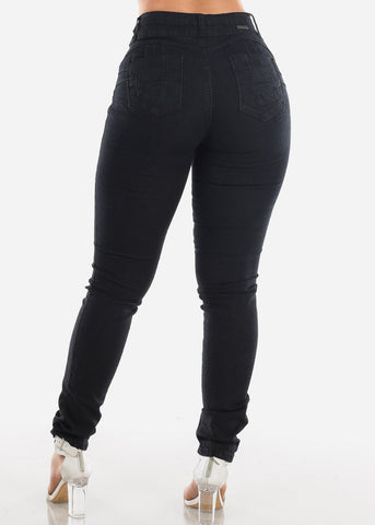 Butt Lifting Levanta Cola Colombian Mid Rise Black Skinny Jeans