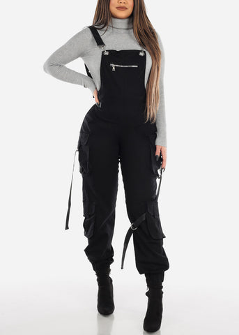 Image of Sleeveless Cargo Style Black Overall