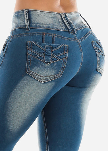 Blue Butt Lifting Skinny Jeans